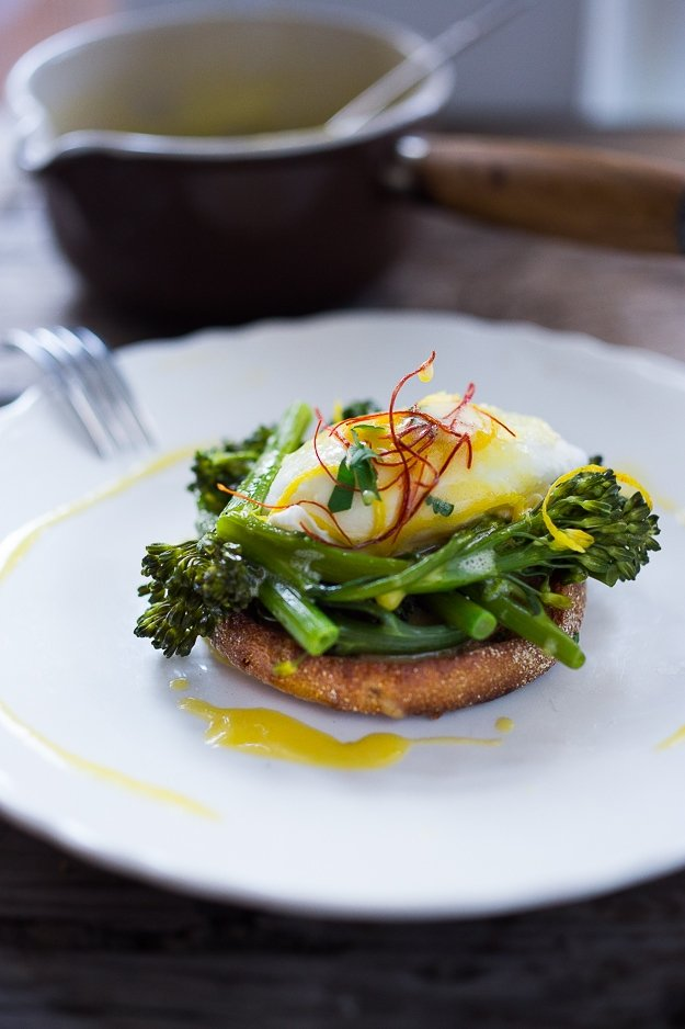 Vegetarian Eggs Benedict with Broccolini and Meyer Lemon Hollandaise
