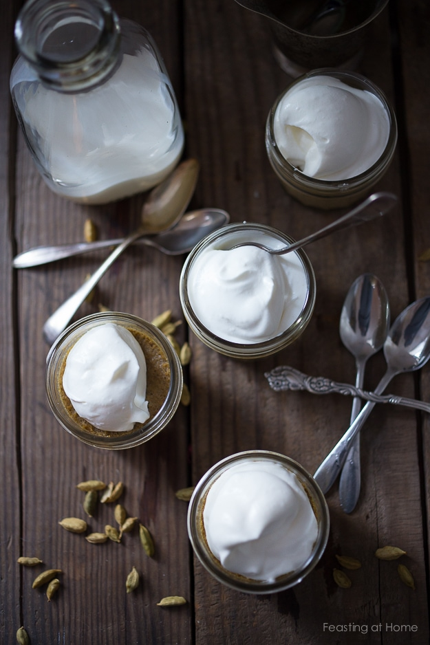 Cardamom Latte Panna Cotta- a scrumptious, easy dessert with a hint of coffee flavor - perfect for holiday gatherings. Can be made ahead! | www.feastingathome.com #pannacotta #easypannacotta