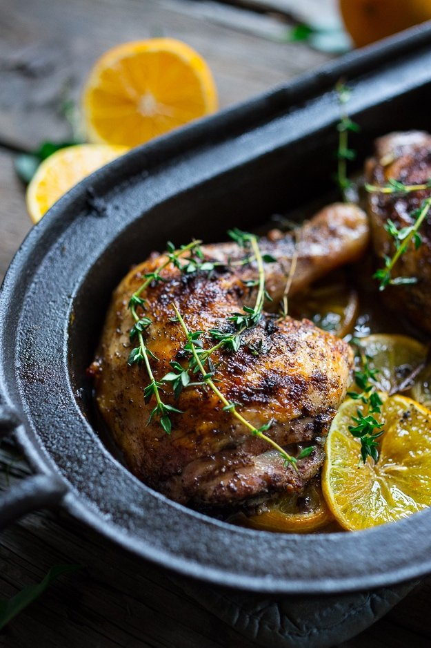 Roasted Sumac Chicken with Meyer Lemons...juicy flavorful middle eastern chicken. Gluten free! | www.feastingathome.com