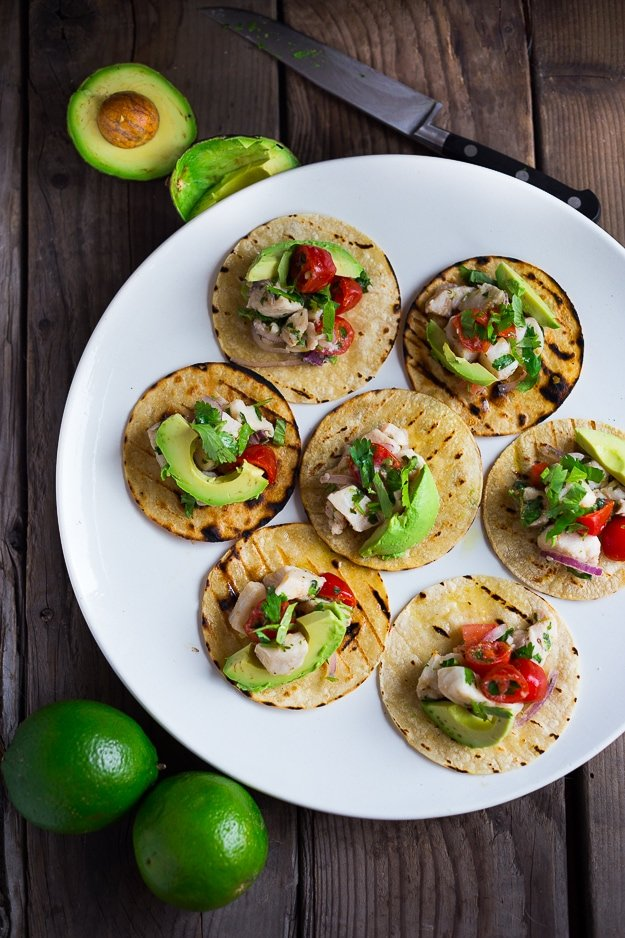 25 Appetizers to Bring to a Party! (That are not boring.) Ceviche Tostado Appetizer... simple healthy appetizer perfect for Cinco de Mayo | www.feastingathome.com