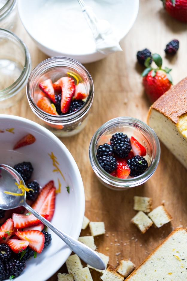 berry trifle recipe in a mason jar