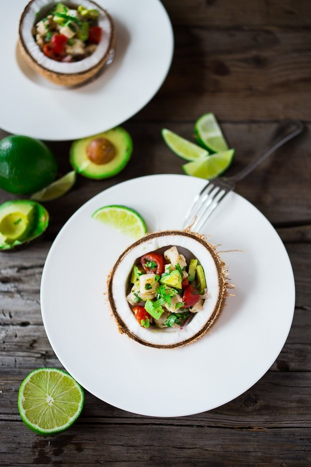 Ceviche Appetizer...with fresh fish, chili, lime, cilantro, avocado and cucumber...a simple healthy appetizer perfect for Cinco de Mayo | www.feastingathome.com
