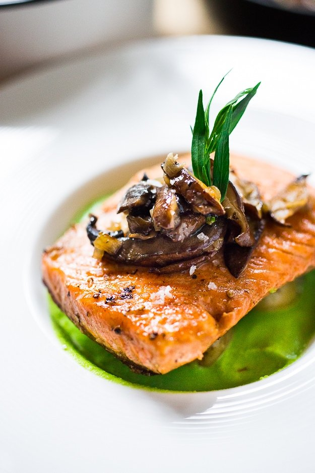 Pan-Seared Trout w/ Mushrooms, New Potatoes & Truffled Spring Pea Sauce | www.feastingathome.com #stealhead #springrecipes #salmon #peas #trout