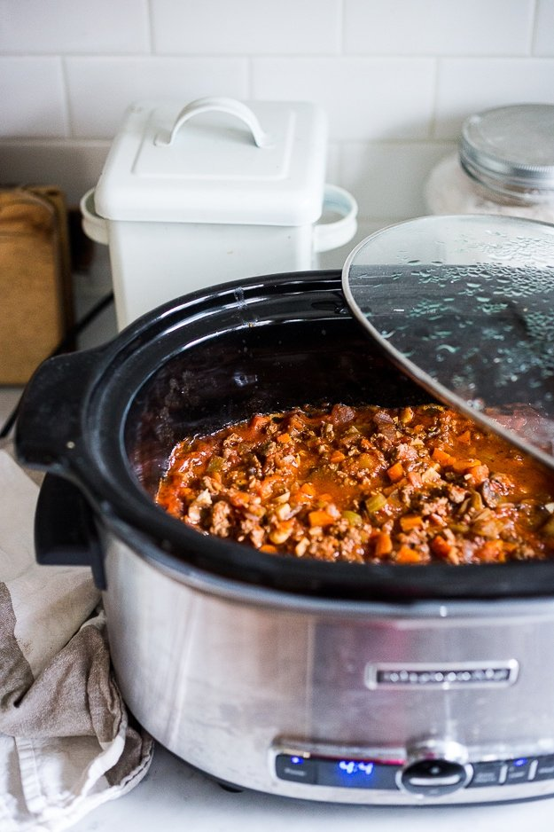 A simple, healthy recipe for Turkey Mushroom Bolognese, that can be made in an Instant Pot, Slow Cooker or stove top. Flavorful and delicious!