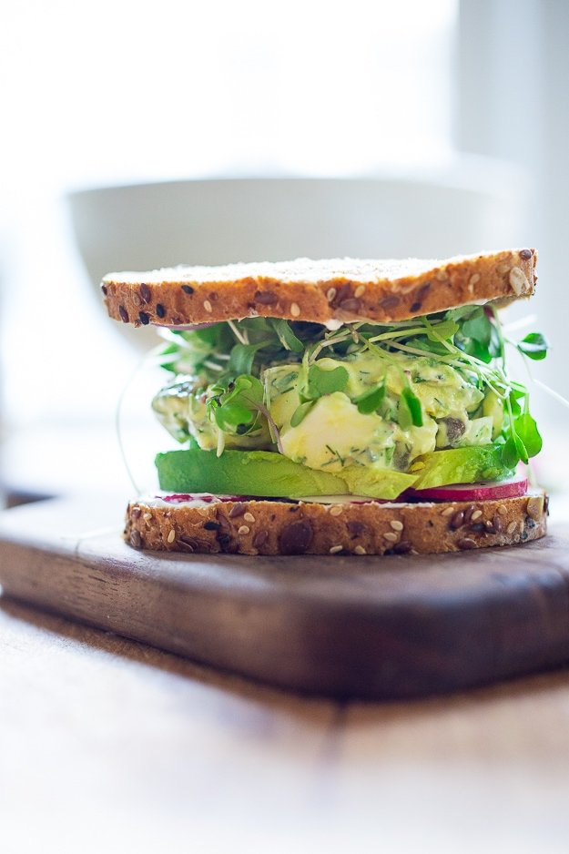 Egg Salad Sandwich with Avocado and dill