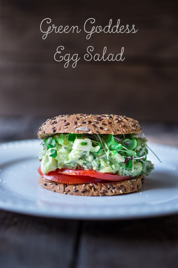 Green Goddess Egg Salad with Avocado- make into a sandwich, or on bruschetta or over a bed of greens!   www.feastingathome.com