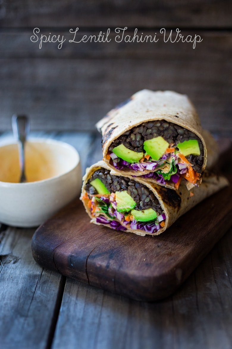 Spicy Lentil Wraps with Tahini Sauce | www.feastingathome.com