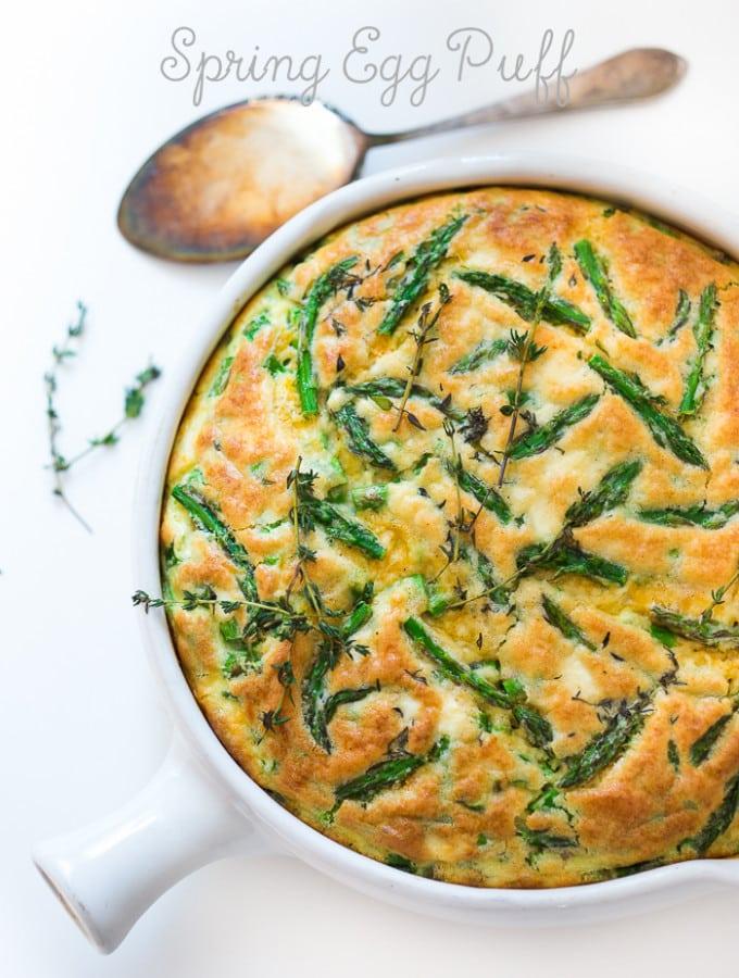 Spring Egg Puff with Asparagus ...an easy baked egg dish! | www.feastingathome.com
