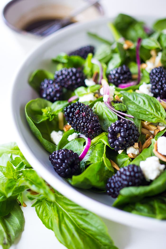 Blackberry Basil Salad with Spinach and Almonds
