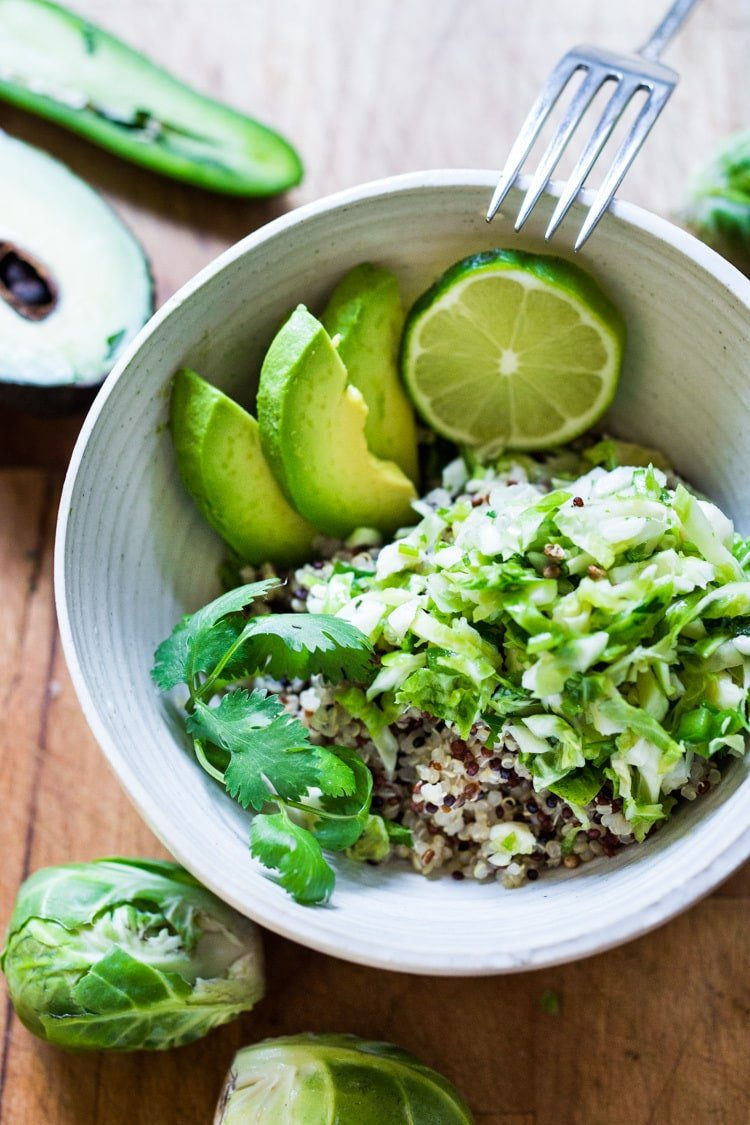 """Vegan Mexican Brussel Sprout Salad with jalapeño, lime and cilantro! Serve as a """"taco slaw"""", a side salad for grill mains or meats. This salad can be made ahead!#brusselsproutsalad #brusslesproutslaw #brusselsprouts #veganslaw #vegansalad #mexicanslaw"""