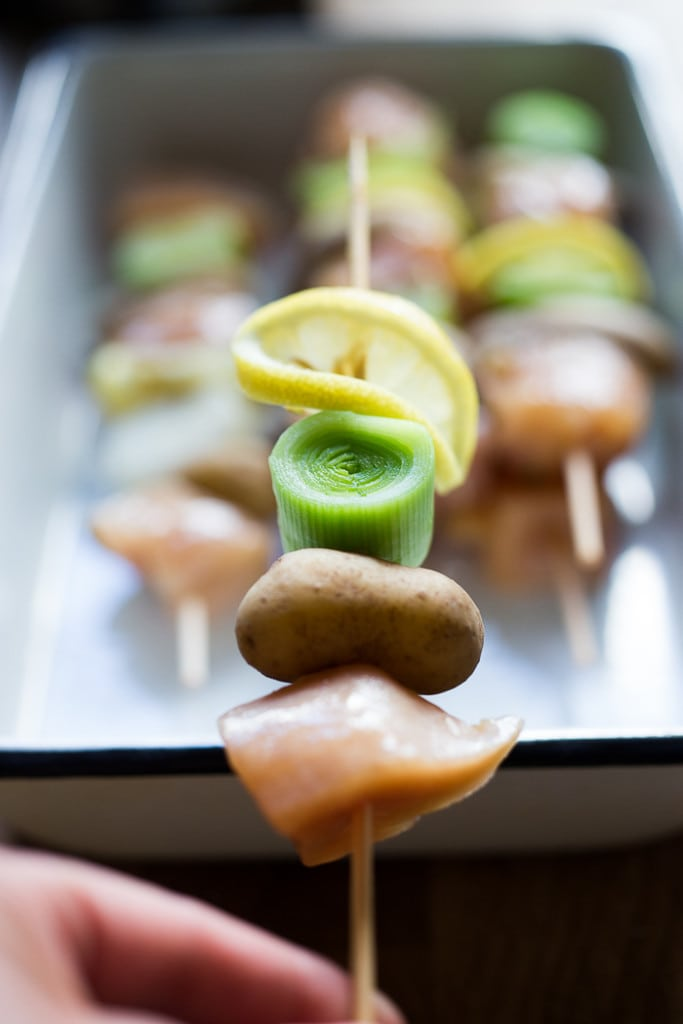 Grilled Leek Potato and Chicken Skewers with a Dijon Rosemary Marinade | www.feastingathome.com
