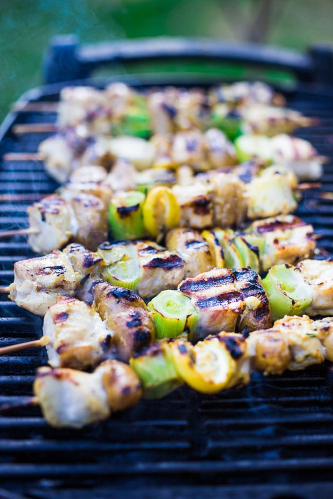 Grilled Leek Potato and Chicken Skewers with a Dijon Rosemary Marinade ...