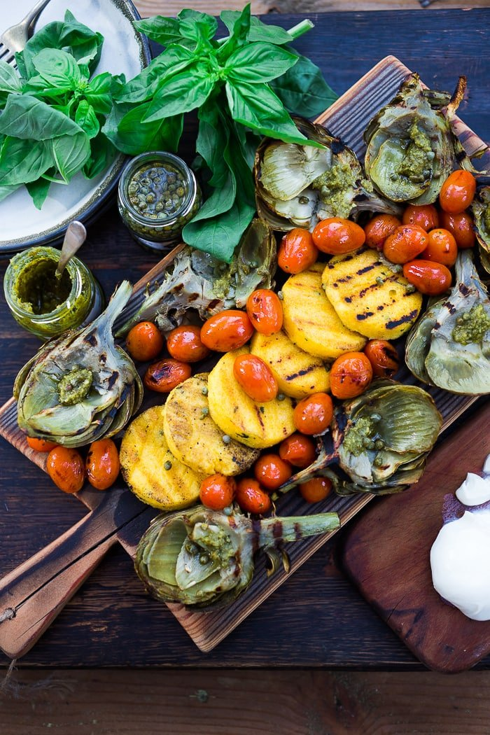 Grilled Artichokes & Polenta w/ Blistered Tomatoes and Pesto ...