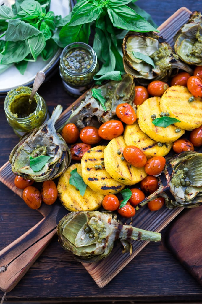 Grilled Artichokes and Polenta with Blistered tomatoes, pesto, capers ...