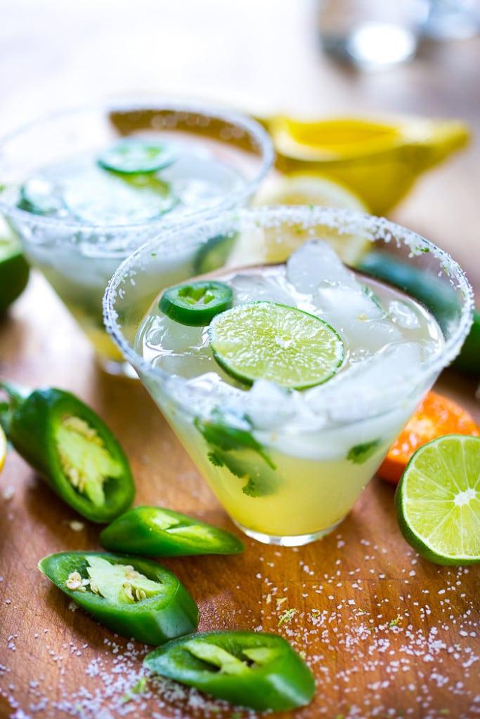 Mezcal Margarita w/ jalapeno and cilantro...a refreshing twist! | www.feastingathome.com