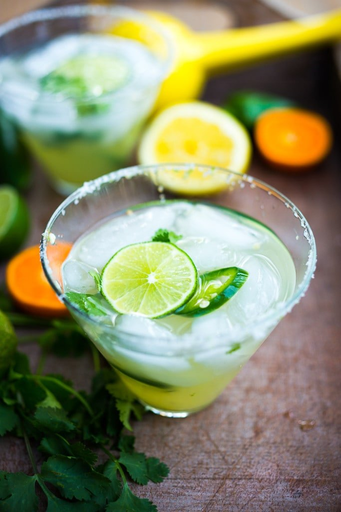 Mezcal Margarita w/ jalapeno and cilantro and lime...a refreshing twist! | www.feastingathome.com