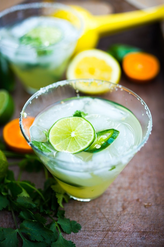 Smokey Spicy Mezcal Margarita w/ jalapeno and cilantro...a refreshing twist! | www.feastingathome.com
