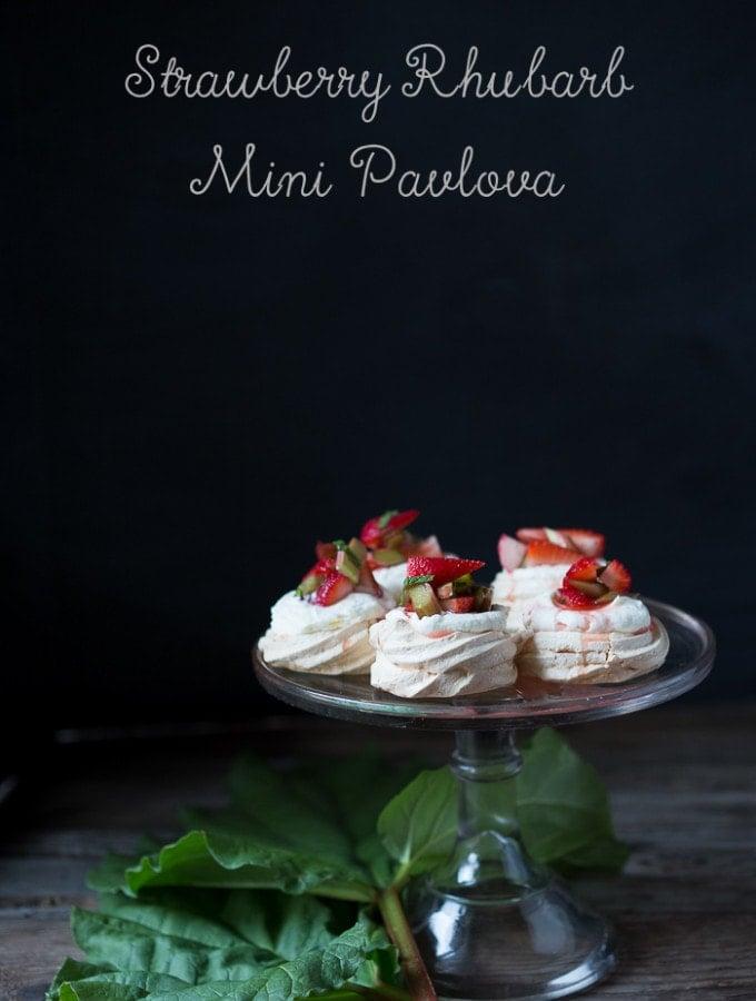 Mini Pavlova with Strawberries, Rhubarb and Mint