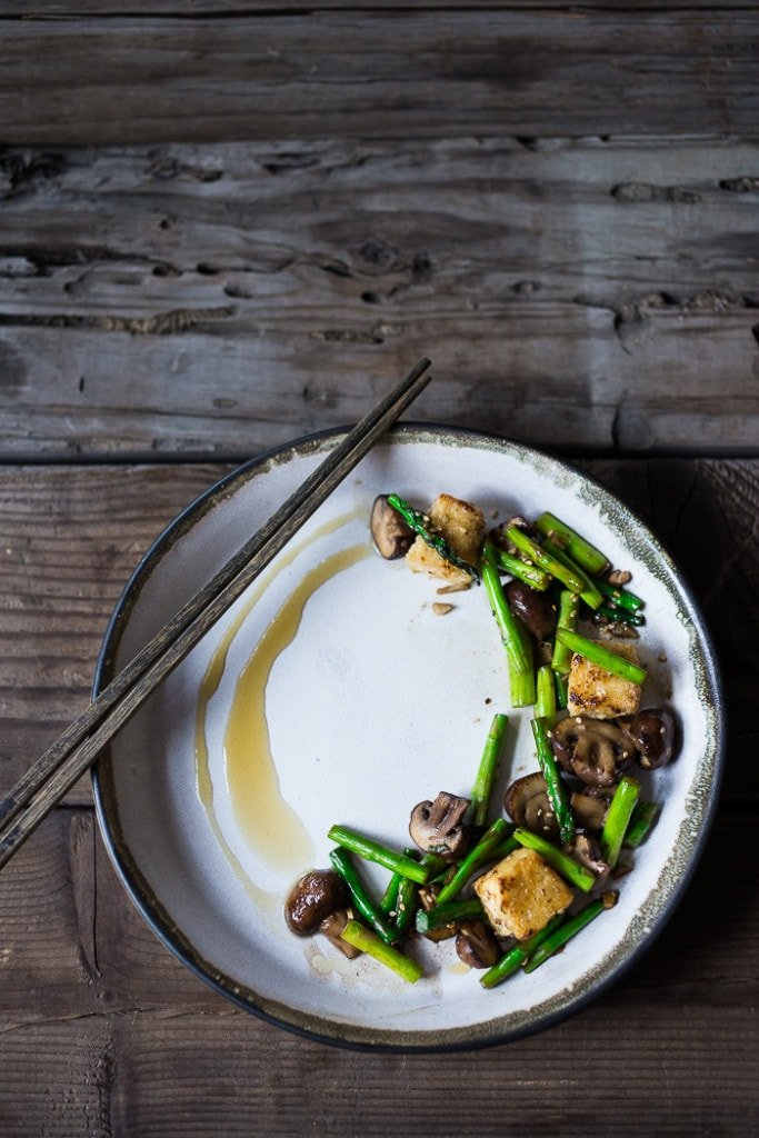 Vegan Asparagus, Mushroom and Tofu Stir-fry