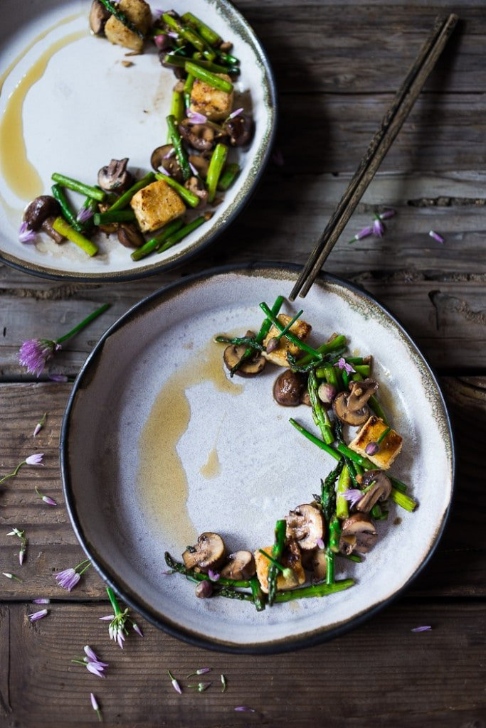 asparagus and mushrooms with garlic, ginger and sesame...with crispy ...