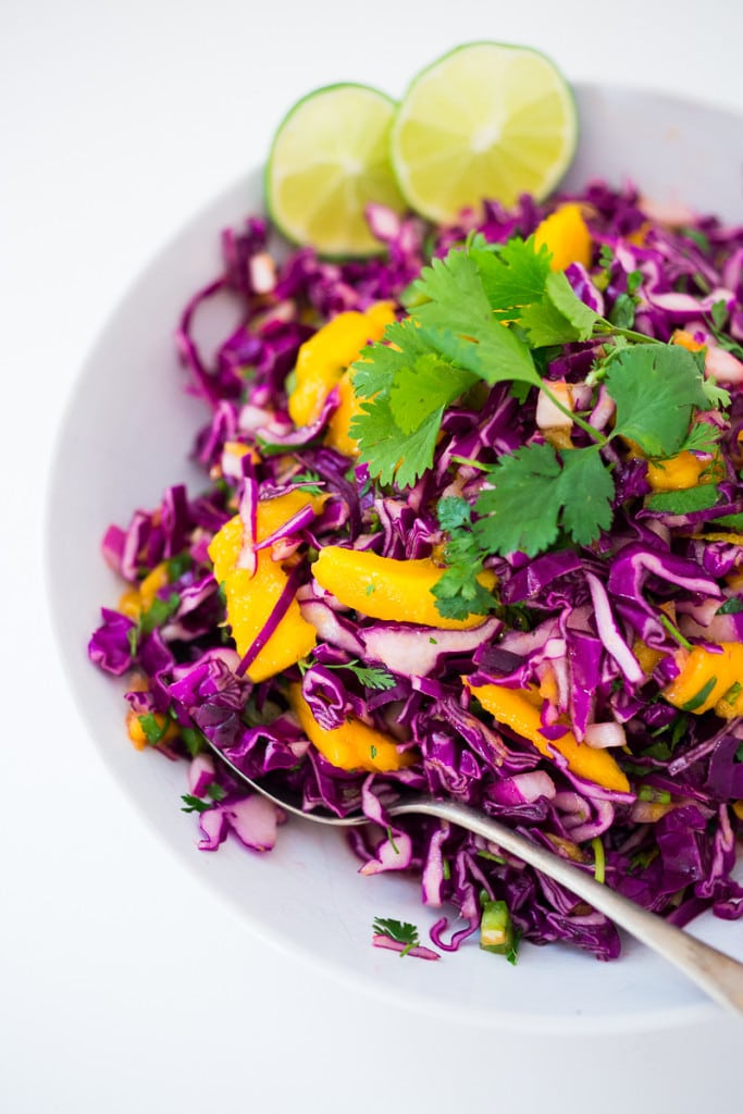 Caribbean Cabbage and Mango Slaw- this healthy, detoxing recipe is low in fat, vegan and gluten free. Makes a great side...or try this in my Caribbean Shrimp Tacos! | www.feastingathome.com