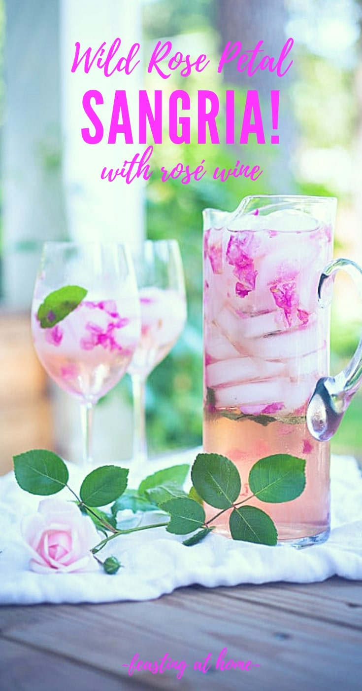 Rose Petal Sangria- made with wild rose petals and rosé wine - a refreshing summer drink that is lightly floral and delicious! Perfect for weddings, special brunches, or showers! #sangria #rosesangria #pinksangria #sangria #rosé #rosésangria #springcocktails #weddingdrinks #sangriarecipe | www.feastingathome.com