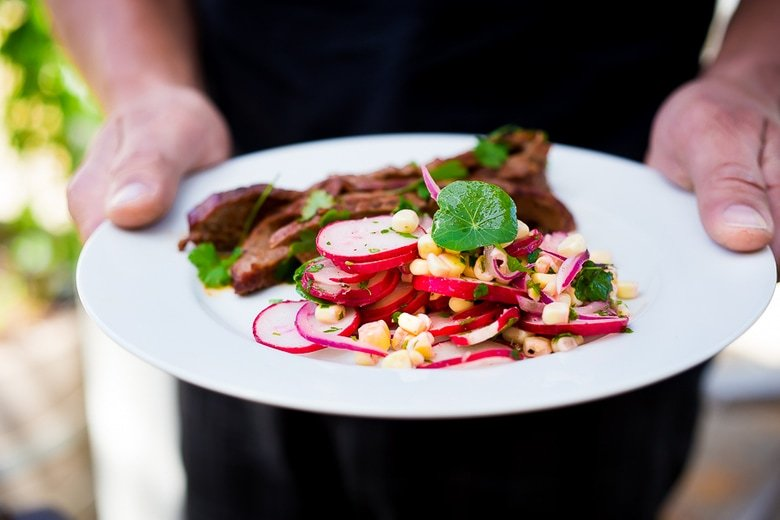 Sweet Corn and Radish Salad with Grilled Flank Steak- an easy summer weeknight meal!  www.feastingathome.com