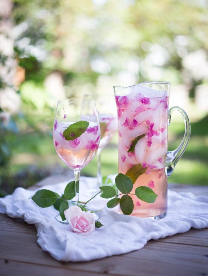 Wild Rose Petal Sangria- a refreshing summer drink.   www.feastingathome.com