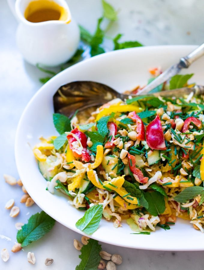 Thai Vegetable Crunch Salad with a light peanut ginger dressing- vegan and gluten free| www.feastingathome.com
