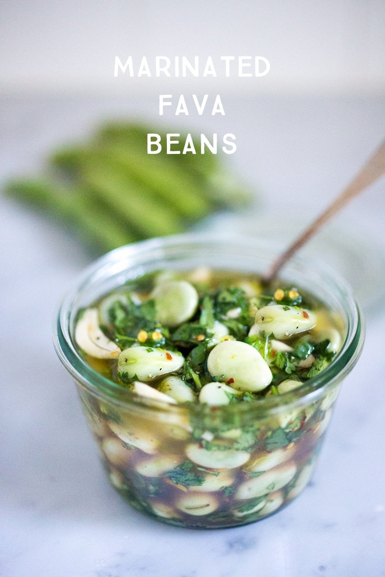 Marinated Fava beans- with olive oil, vinegar, garlic, lemon zest and fresh herbs- a great way to persevere summer shelling beans. Serve with hummus and pita!| www.feastingathome.com