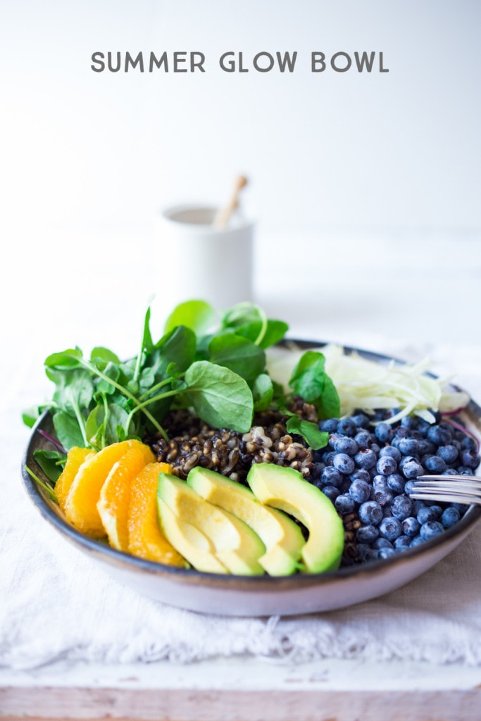 """A healthy, vegan """"Glow Bowl"""", designed to give your skin a burst of anti-oxidants and skin glowing nutrients. A simple, tasty plant based recipe! www.feastingathome.com"""