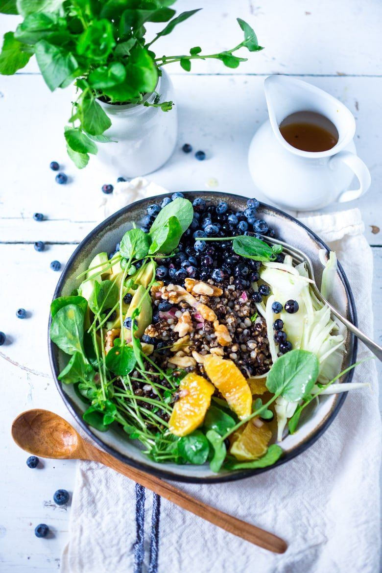A healthy summer bowl packed full of nutrients for the skin- blueberries, avocado, walnuts, watercress, black nile barley with a bee pollen vinaigrette! | www.feastingathome.com