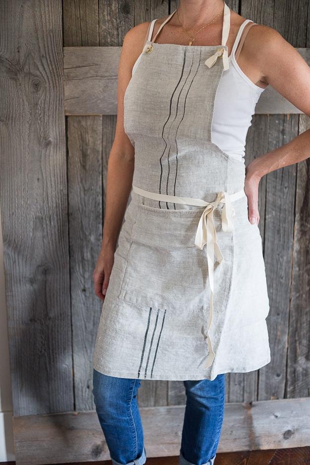 Handmade linen apron from www.bowlandpitcher.com