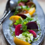 Tomato Beet and Buratta Salad with Basil Oil and Balsamic Drizzle- a vibrant and tasty summer salad.| www.feastingathome.com