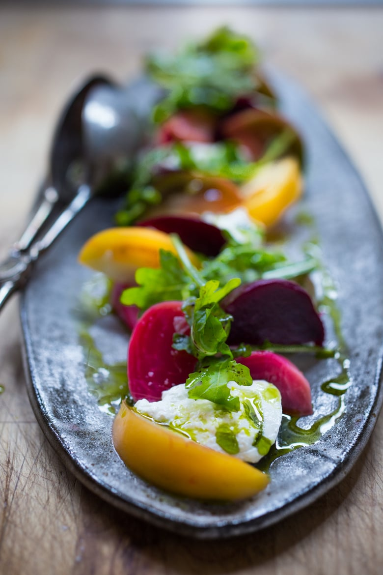 Heirloom Tomato, Beet and Burrata Salad w/ Basil oil