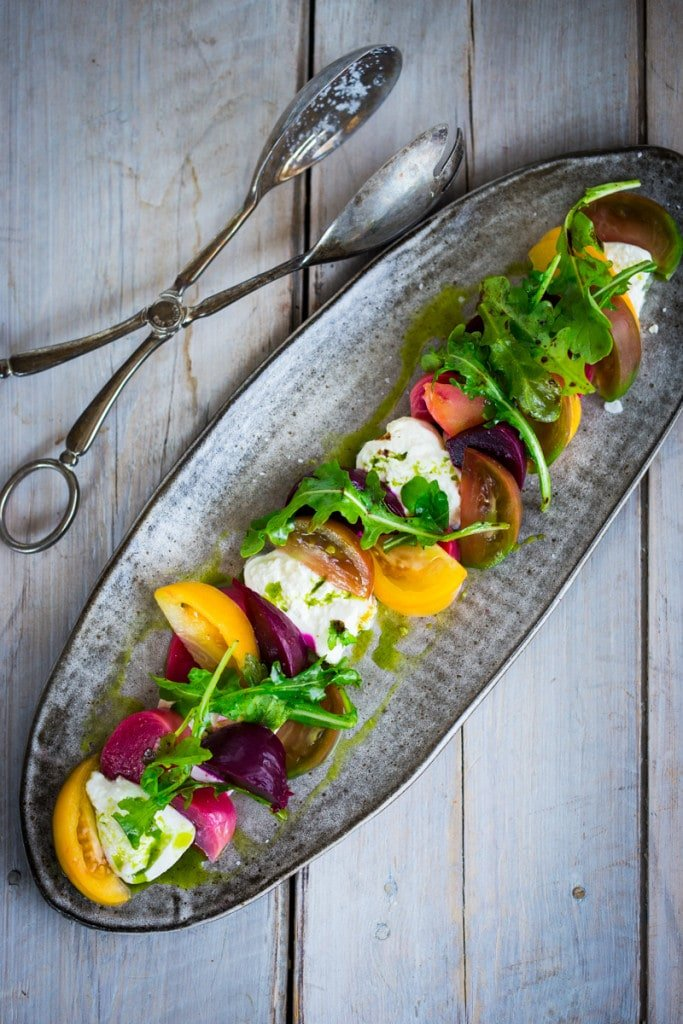 An Heirloom Tomato, Beet and Burrata Salad with flavorful Basil Oil ...