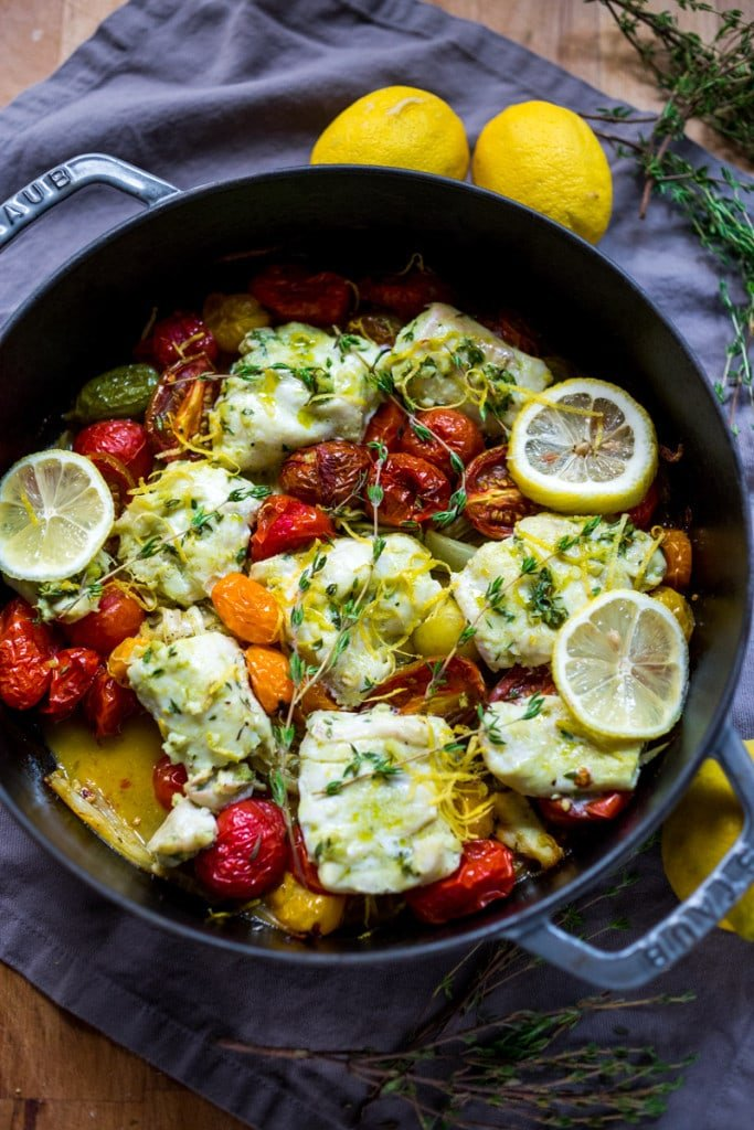 Baked haddock ( or any white fish) with roasted tomatoes , fennel ...
