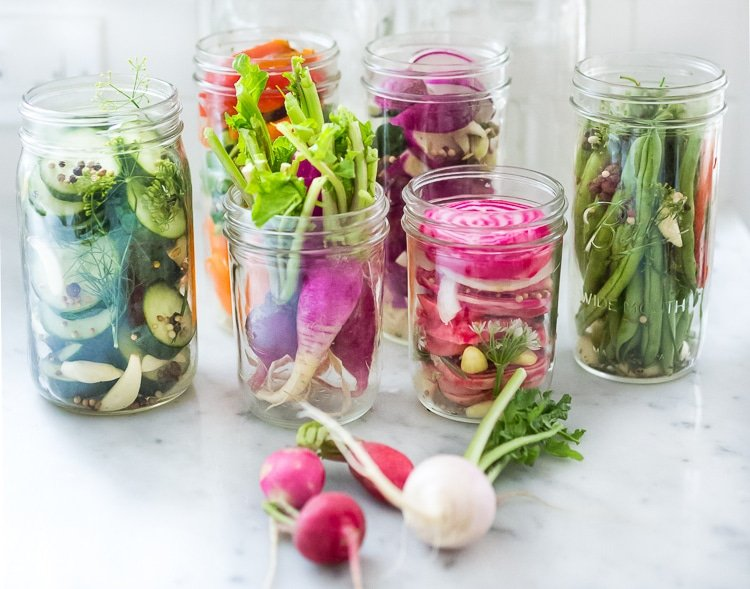 Quick Pickled Vegetables - A simple delicious recipe that can be used with any veggie! Beets, turnips, radishes, carrots, kohlrabi, onions, cauliflower, peppers, or green beans! | www.feastingathome.com #pickledveggies #pickledvegetables #refigeratorpickles #quickpickles