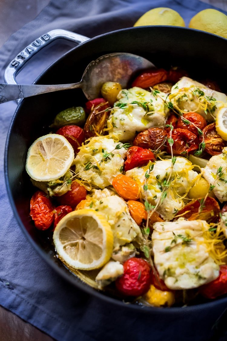 Baked Haddock with roasted tomatoes, fennel and shallots- a simple, easy, healthy one pot meal that can be made in 35 minutes! Gluten-free, Paleo, keto. #haddock #bakedhaddock
