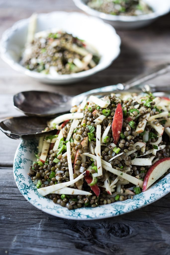 Celeriac Lentil and Apple Salad with a Toasted Cumin Seed Vinaigrette- a delicious healthy meal Vegan, Gluten free! | www.feastingathome.com