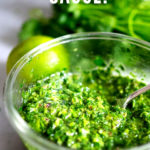 Authentic Chimichurri Sauce- a simple Argentinean condiment or marinade made with cilantro to spice up grilled steak, tacos, shrimp, chicken, or vegetables!