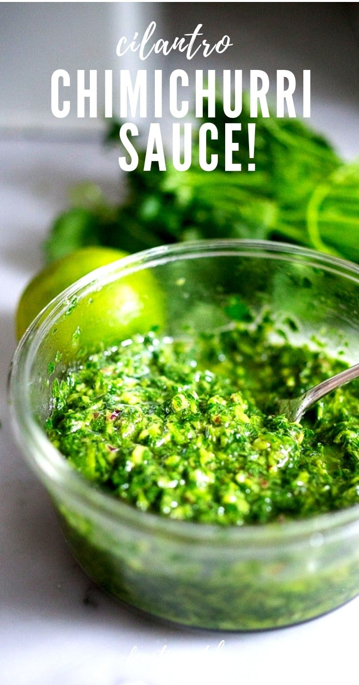 BEST-EVER Chimichurri Sauce! This EASY recipe made with cilantro and parsley will quickly become your new favorite condiment! It takes only 5 minutes to make, and is loaded up with flavorful fresh herbs. Use it on grilled veggies, beef, chicken and fish!  #chimichurri #chimichurrisauce #greensauce #grilling #vegan
