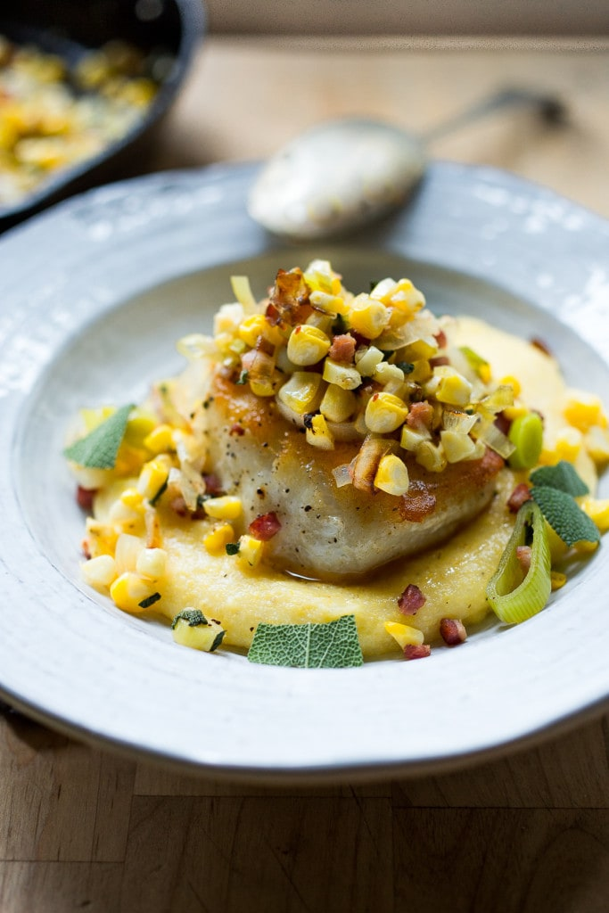 Halibut with Corn, leeks, pancetta over a lightened up Creamy Polenta  feasting at home