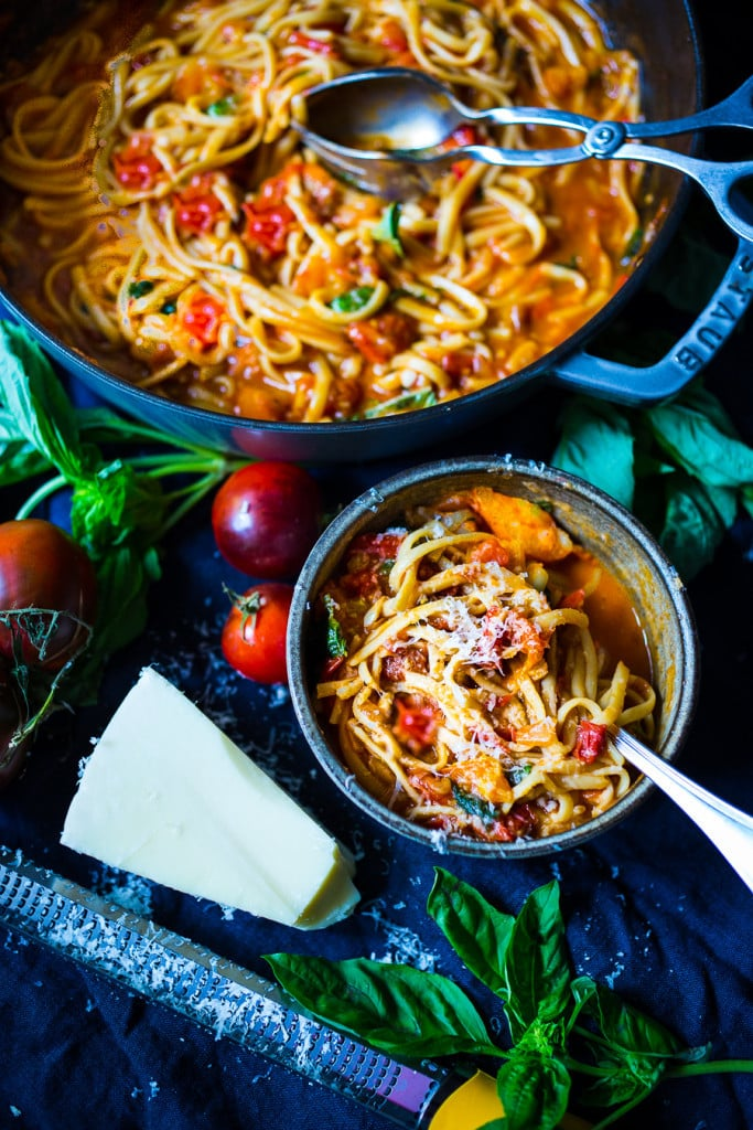 Feasting at Home| Spaghetti with Fresh Tomato Sauce and Basil - quick ...