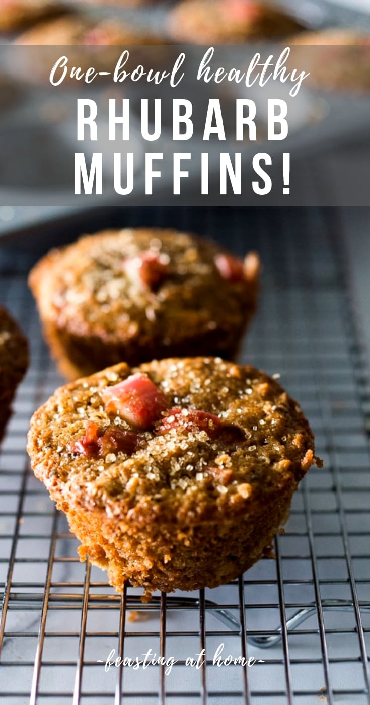 Rhubarb Muffins- a simple healthy one-bowl muffin recipe made with oats, your choice of flour, optional seeds and nuts, sweetened with maple syrup. Vegan and GF adaptable! #rhubarb #rhubarbmuffins #rubbarbrecipes #muffins #spelt #chia #almonds