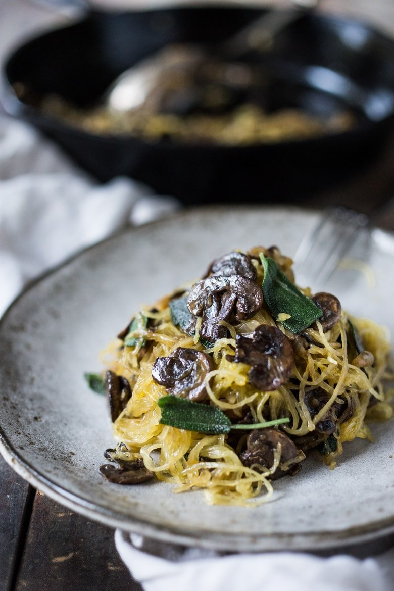 Spaghetti Squash with Mushrooms, Garlic and Sage. | www.feastingathome.com