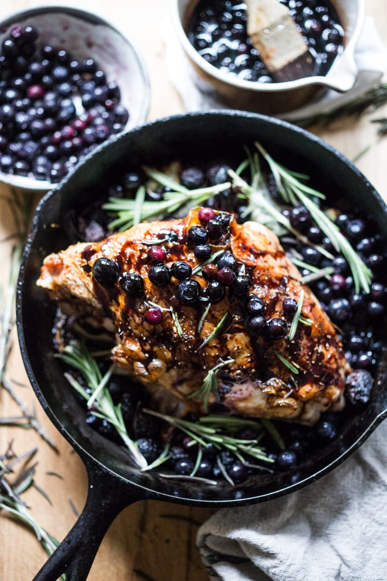 Roasted Turkey Breast with blueberries, balsamic, rosemary, figs and mustard.