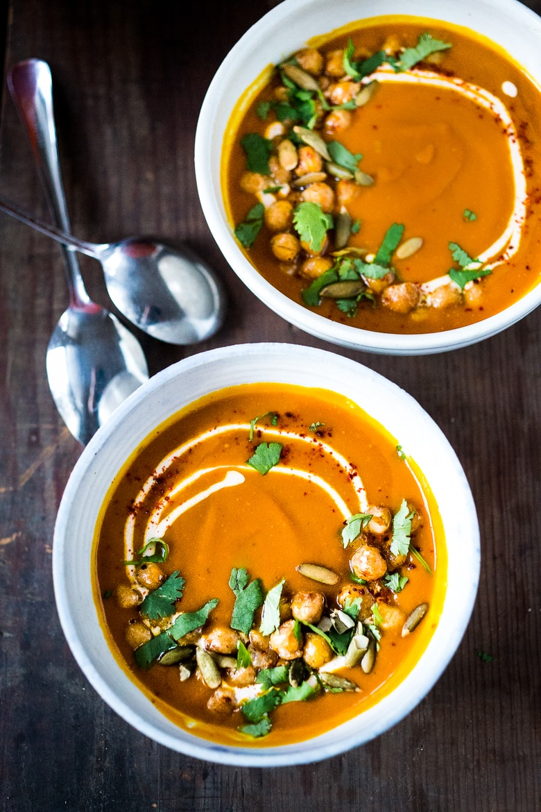 20 Fall Soups to Savor Now - Roasted Squash soup with Harissa, crispy chickpeas and yogurt | www.feastingathome.com