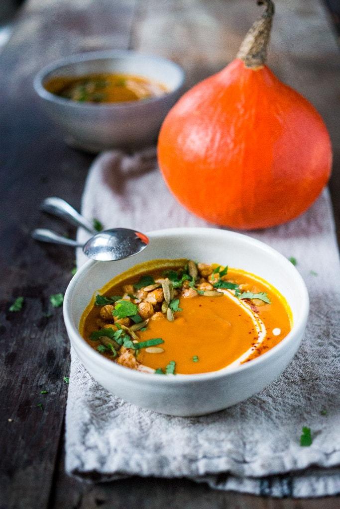 Roasted Kuri Squash Soup with Smokey Harissa and Chickpeas