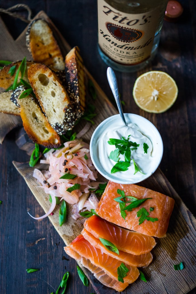 A simple recipe for homemade lox, using salt, vodka and herbs and spices. Use the homemade lox on appetizers, bagels, in sushi or on salads.#lox #loxrecipe #salmonlox #curedsalmon